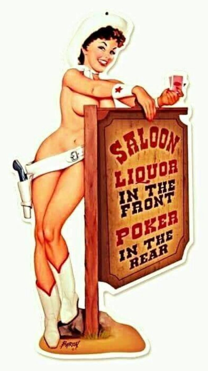 Ad promoting liquor and  gambling in Old West saloon-- but more near to modern-city areas of the U.S.A.