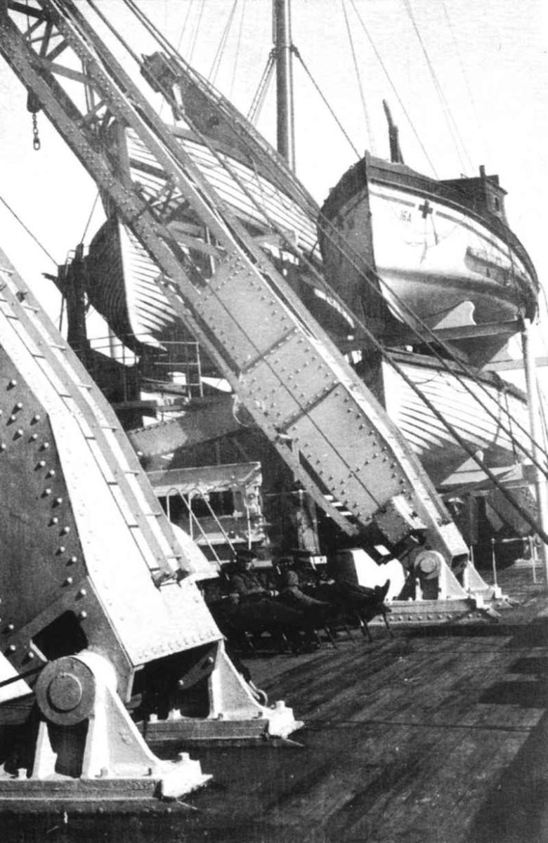 Britannic's crane style davits.