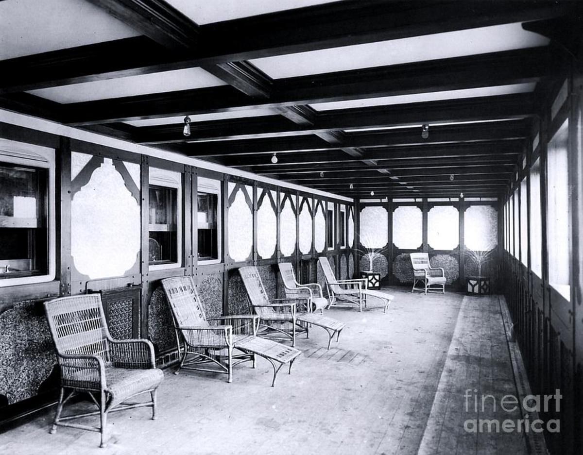 A parlor suite's private promenade on B-Deck