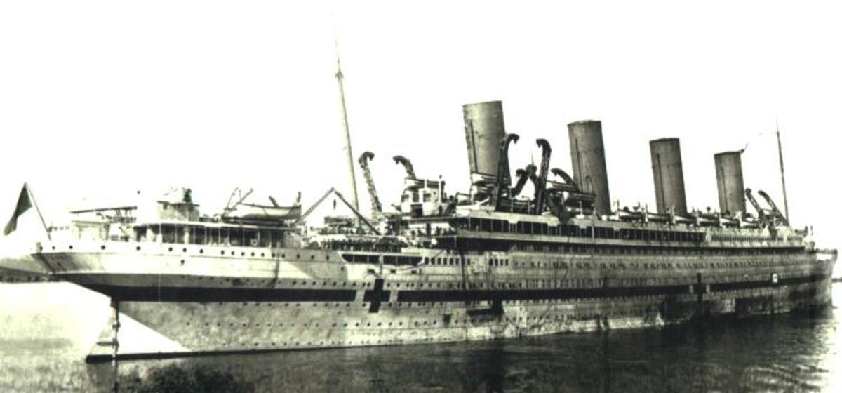 Notice Britannic's redesigned stern.