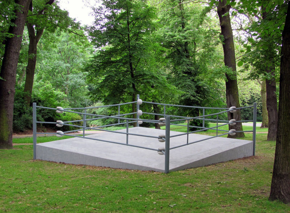 "A memorial for Johann Trollmann, entitled ""9841,"" designed to show the disadvantages he faced as a Sinti both in and out of the ring."