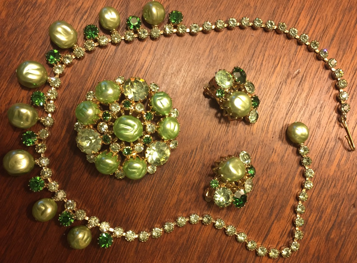 Weiss parure (matching set) consisting of necklace, brooch, and earrings, 1950s