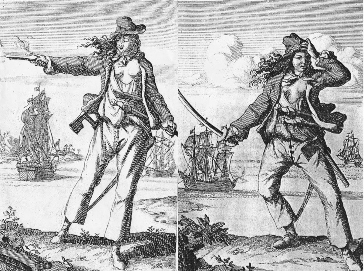 Anne Bonny and her pirate pal Mary Read. While Anne dressed for her femininity, Mary was known to dress as a man, with few knowing her secret that she was actually female.