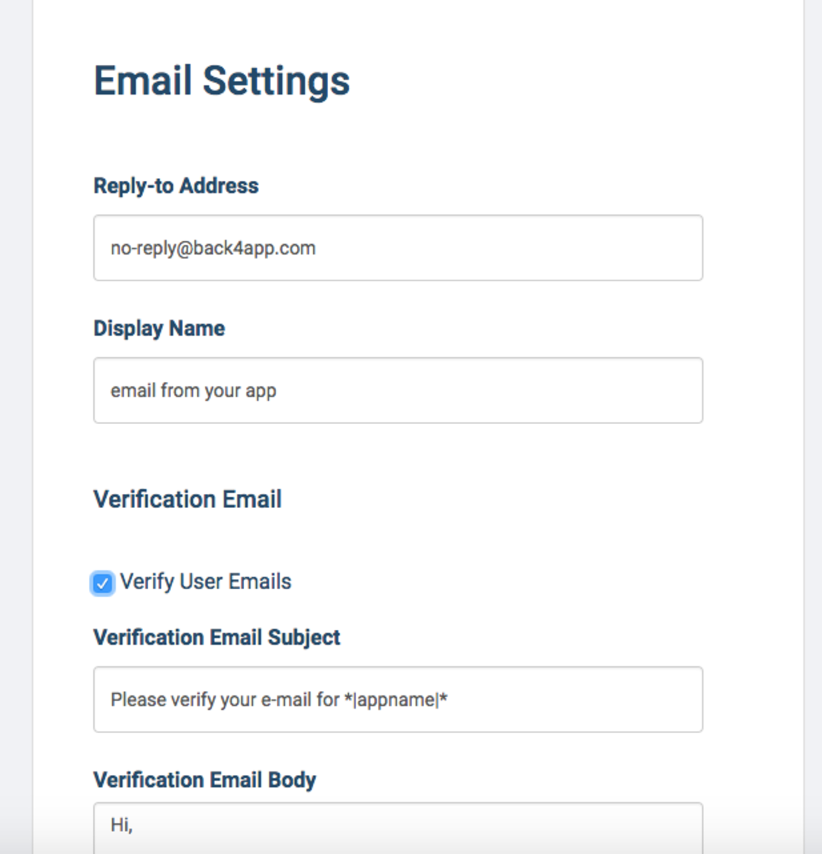 Verify email and Password reset settings