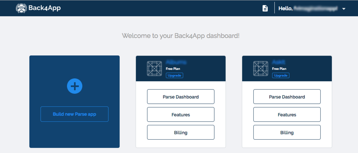 The Apps Dashboard on back4app
