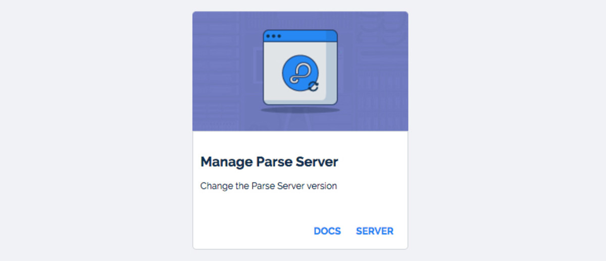 Manage Parse Server section