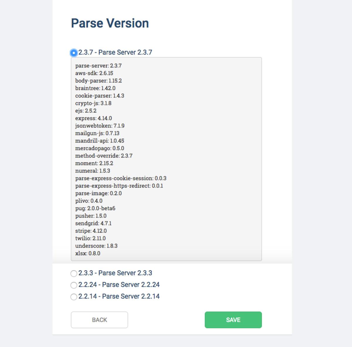 Select a Parse Server version