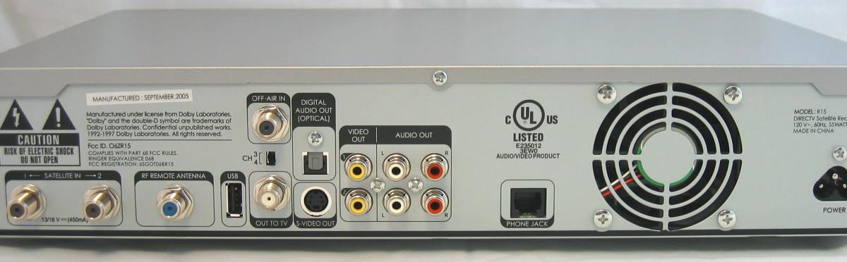 DirecTV receiver/IRD back view