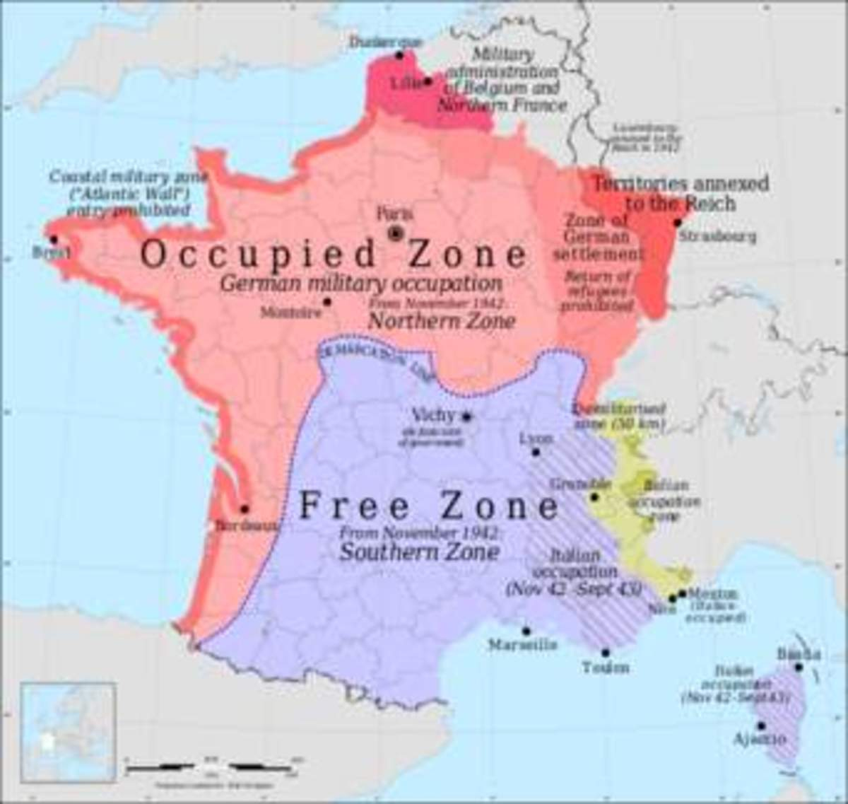 Divided France after they fell to Germany