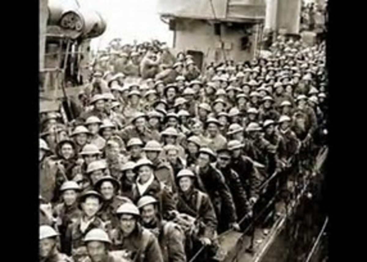 Troops rescued from the beaches of Dunkirk after the fall of France.