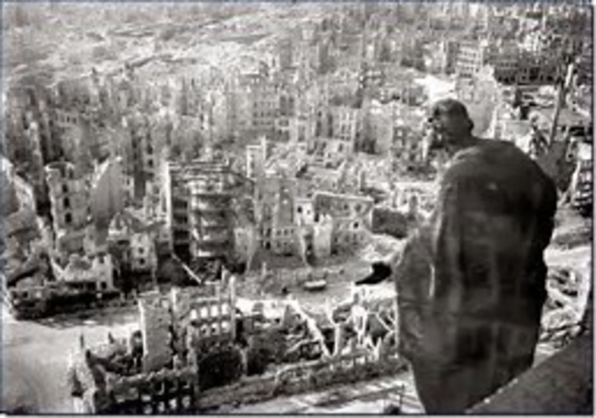 Late in the war, the ruins of Dresden