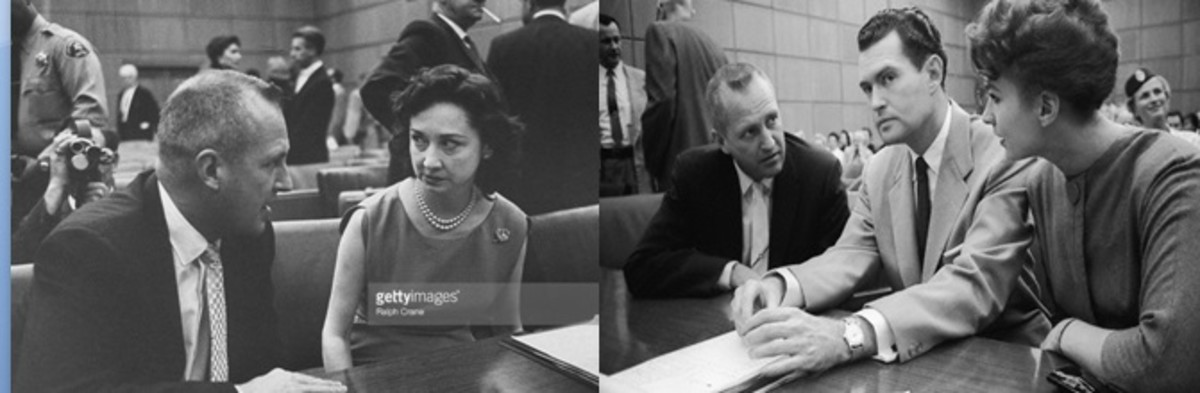 Left photo - Dorothy Kilgallen interviewing murder defendant Dr. Bernard Finch. Right photo - Finch (left) and fellow defendant/mistress Carole Tregoff.