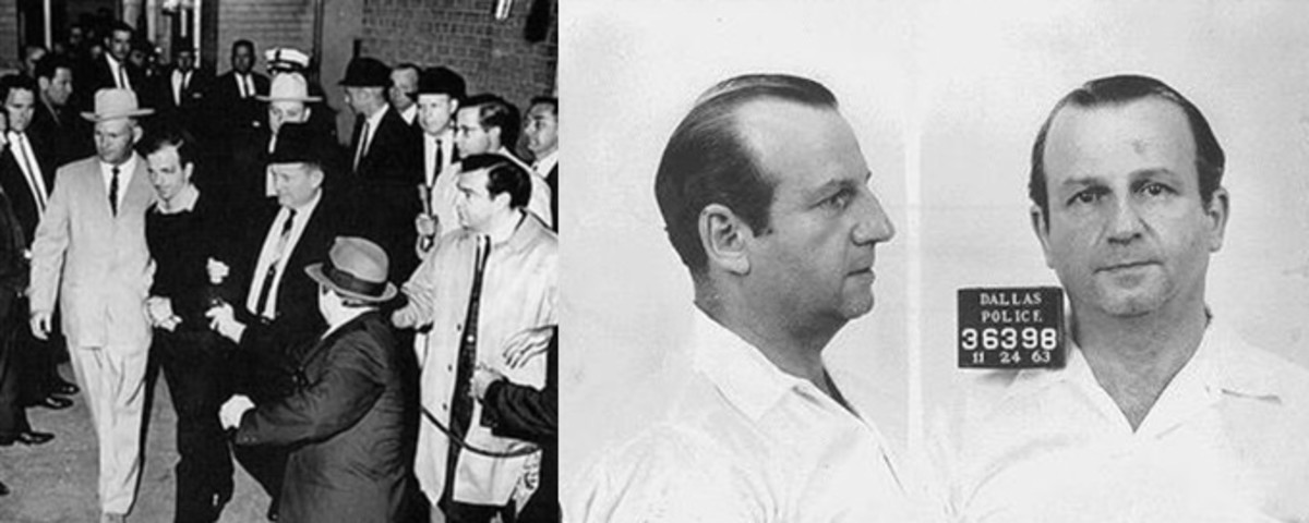 Left - Jack Ruby shooting Lee Harvey Oswald in the basement of the Dallas Police station. Right - Ruby's mug shot