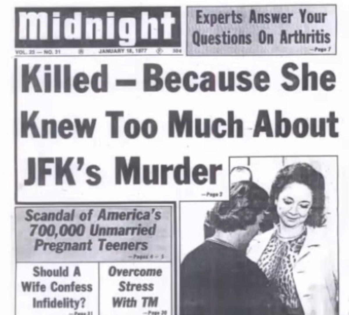 "Dated January 1977, 12 years after Dorothy Kilgallen's death, this was the front page of the tabloid paper ""Midnight"" which later became the ""Globe"""