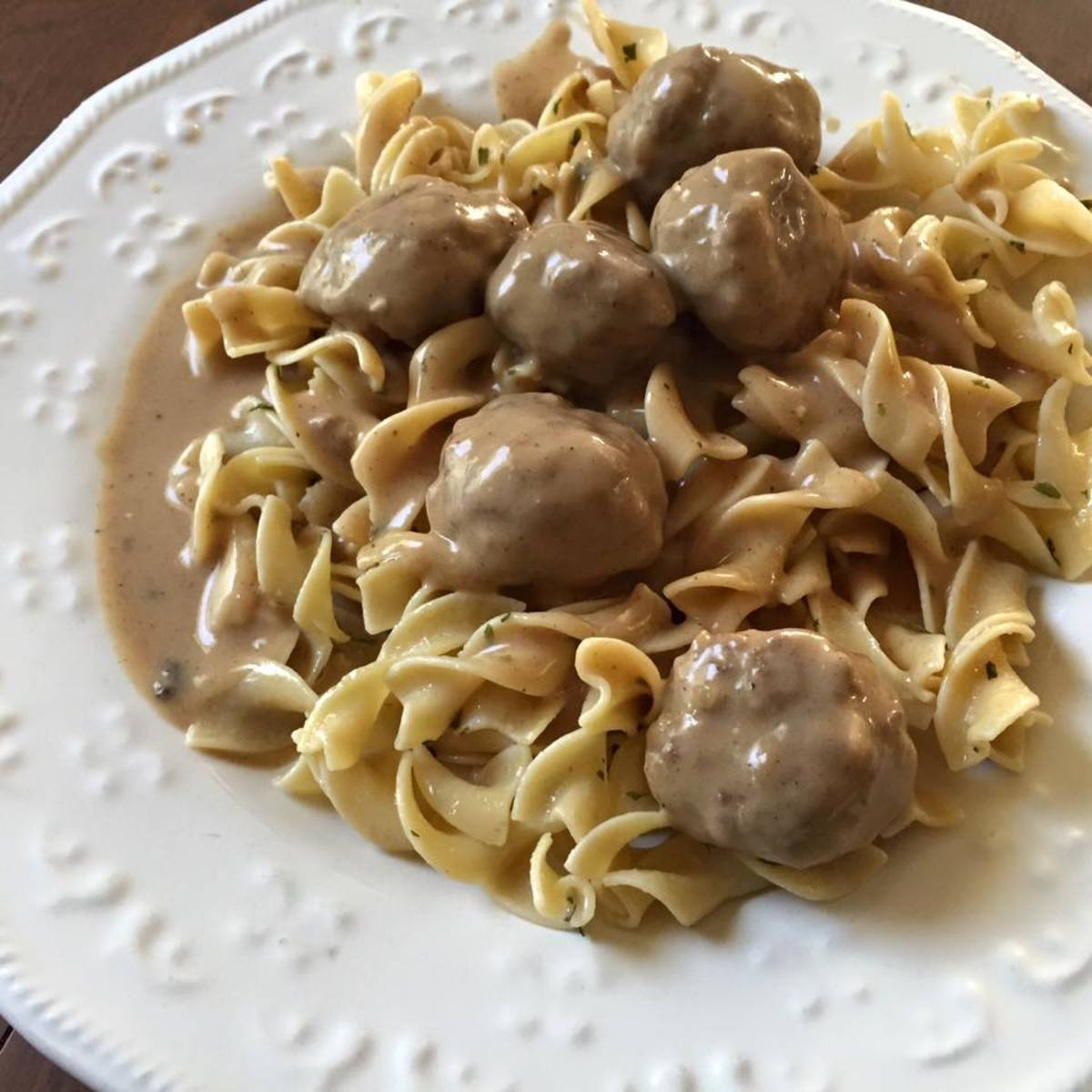 Dollar Tree Swedish Meatballs with Egg Noodles