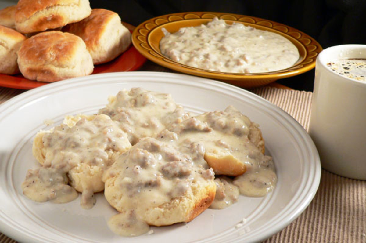Dollar Tree Biscuits and Meat Gravy