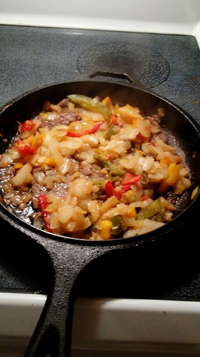 Sauteed onions and pepper strips