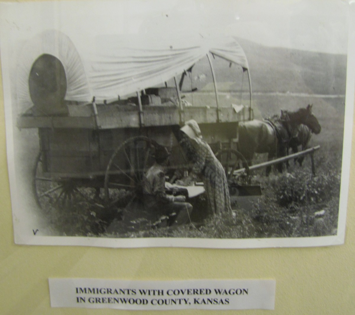 My ancestors arrived in Kansas in a covered wagon similar to this one. They lived the life of pioneers and probably had a frugal Christmas just like the Ingalls family did in the Laura Ingalls Wilder stories.