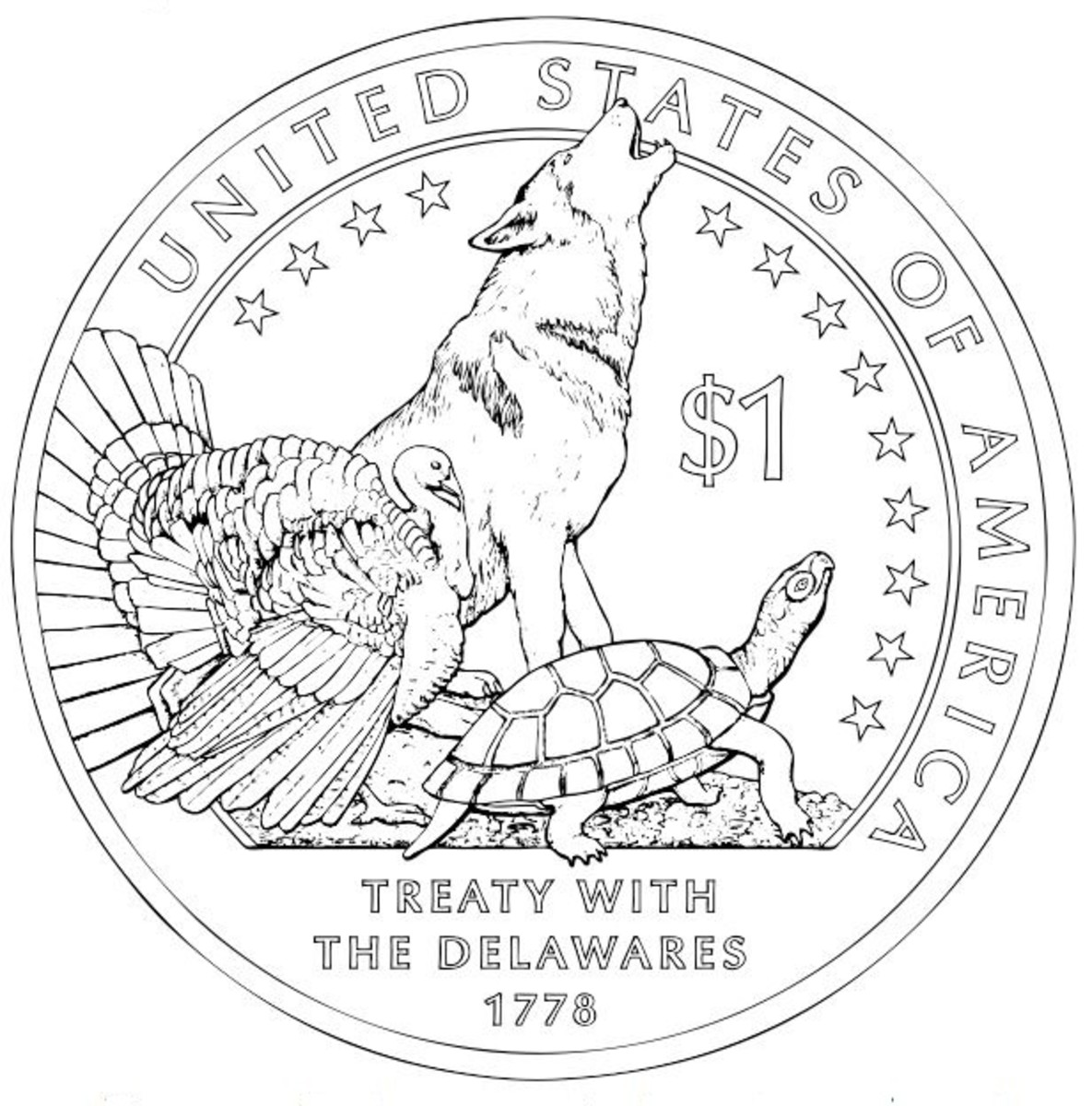 USA Wolf, turtle and turkey coin coloring page
