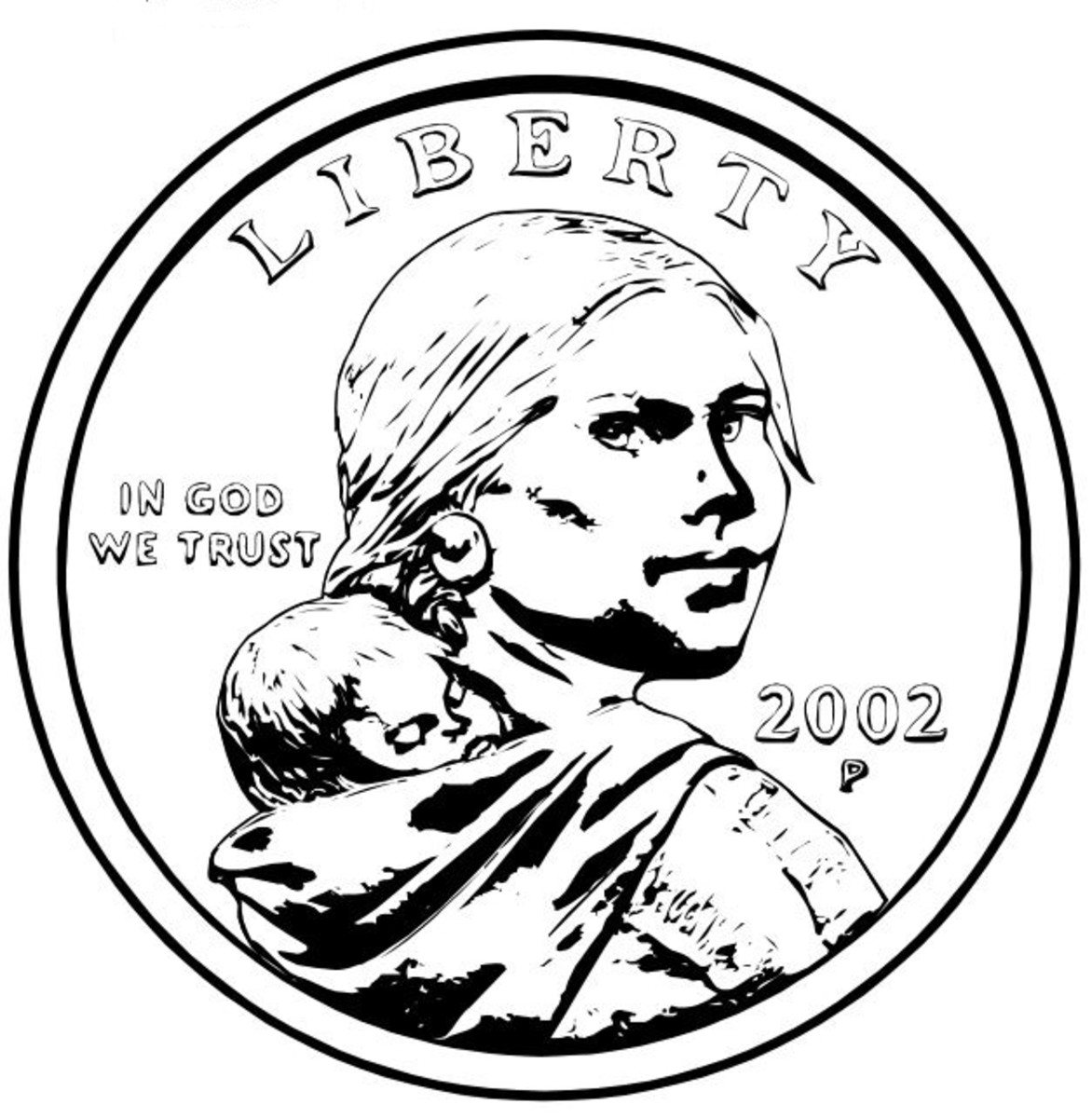 2002 Sacagawea Golden Coin Coloring Page