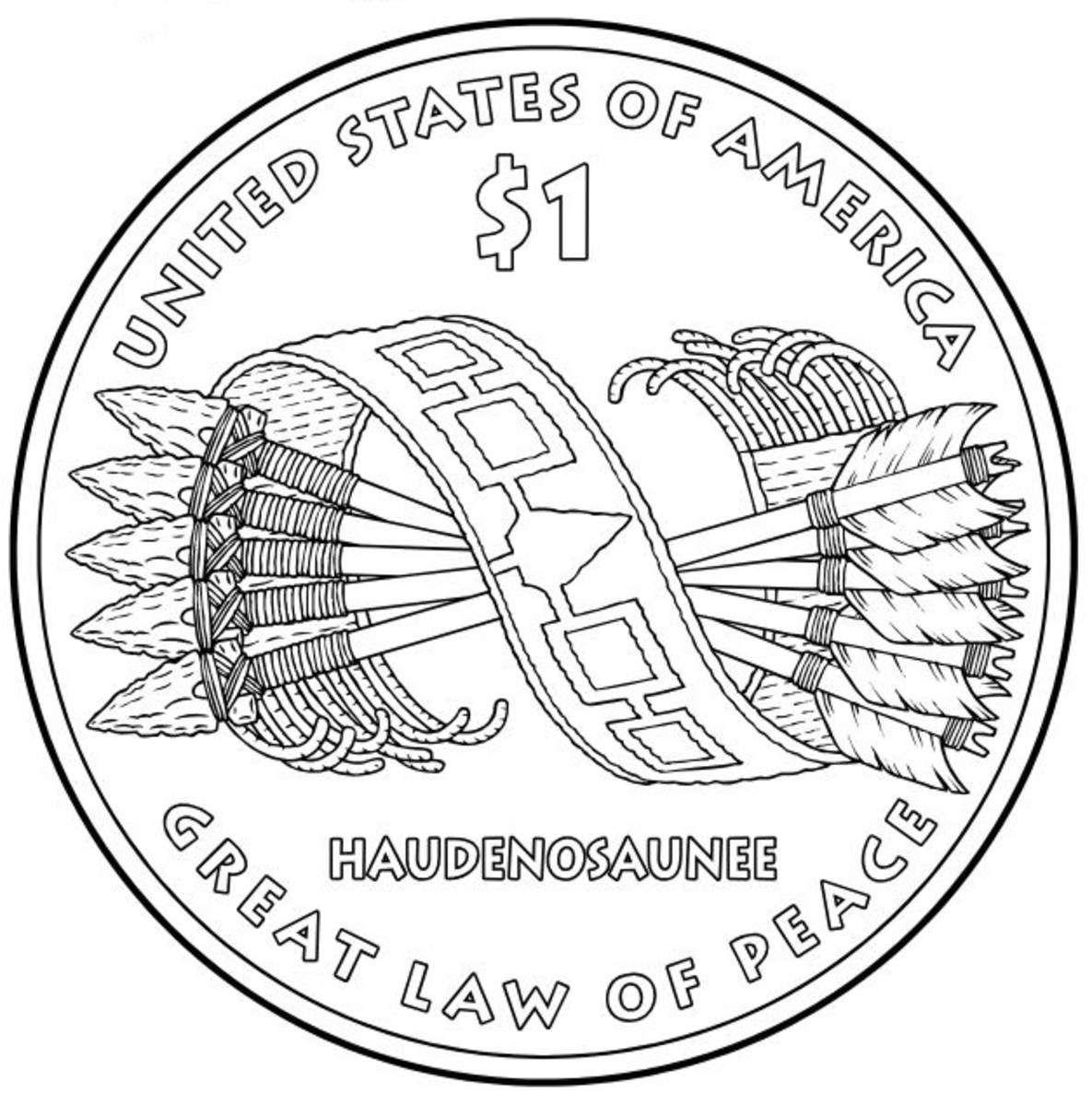 United States of America Great Law of Peace coin coloring page