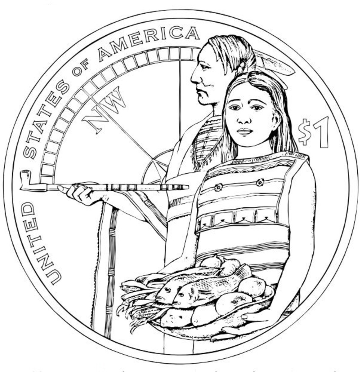 Free Native American Coloring Pages of US Mint One Dollar Coins Collection