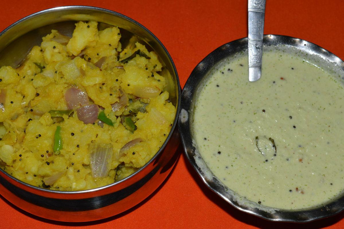 Potato-Onion curry and Chutney