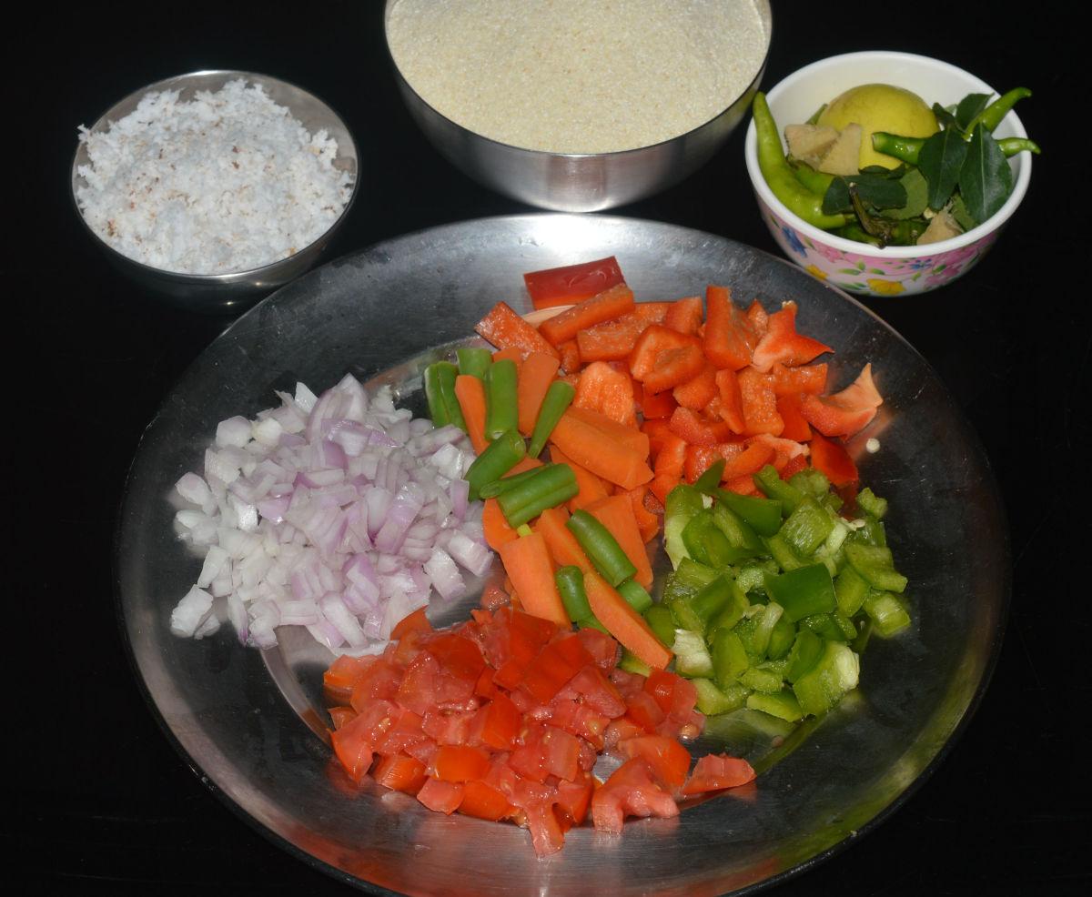 The ingredients to make semolina upma