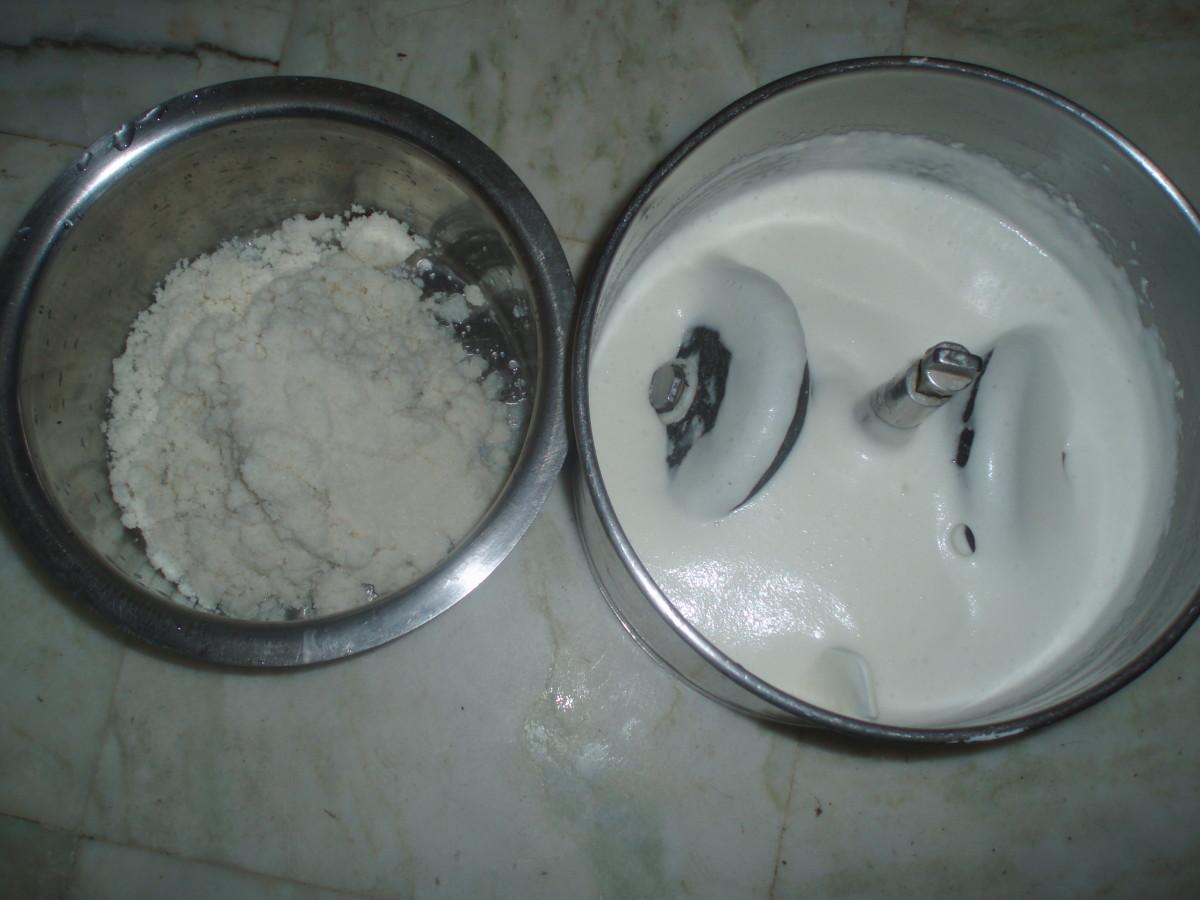 The batter and soaked rice semolina