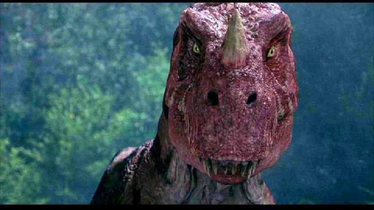 (cc image, Jurassic Park Wiki) Ceratosaurus, a Close Relative of the Carnotaurus (two horns on head)