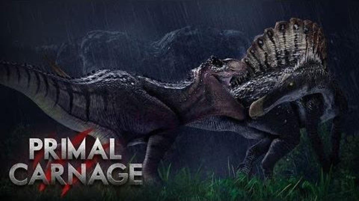 (cc image, Jurassic Park Wiki) Spinosaurus Fighting a Tyrannosaurus Rex - Battle of the Carnivorous Kings