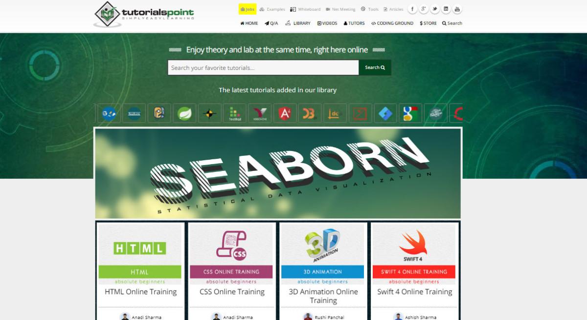 tutorialspoint.com: A wide range of tutorials, articles, video, and books on web development