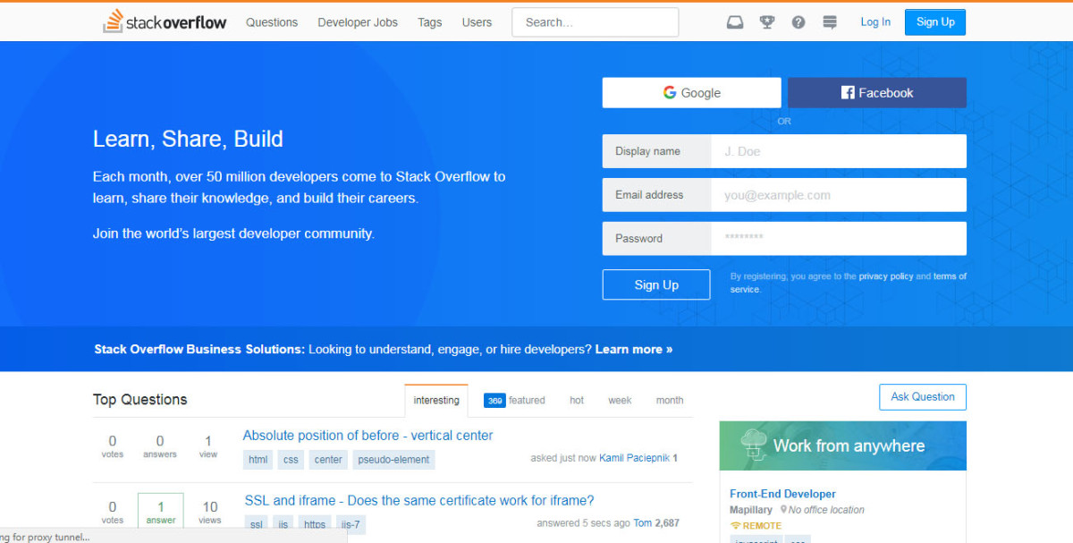 stackoverflow.com: The largest online community for developers to learn and share programming knowledge.