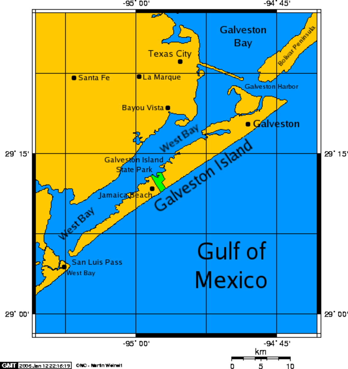A map of Galveston Island, a barrier island on Galveston Bay of the Gulf Coast of Texas.     The city of Galveston, Texas is located on part of the island.     It is about 50 miles (80 kilometers) south of the city of Houston.