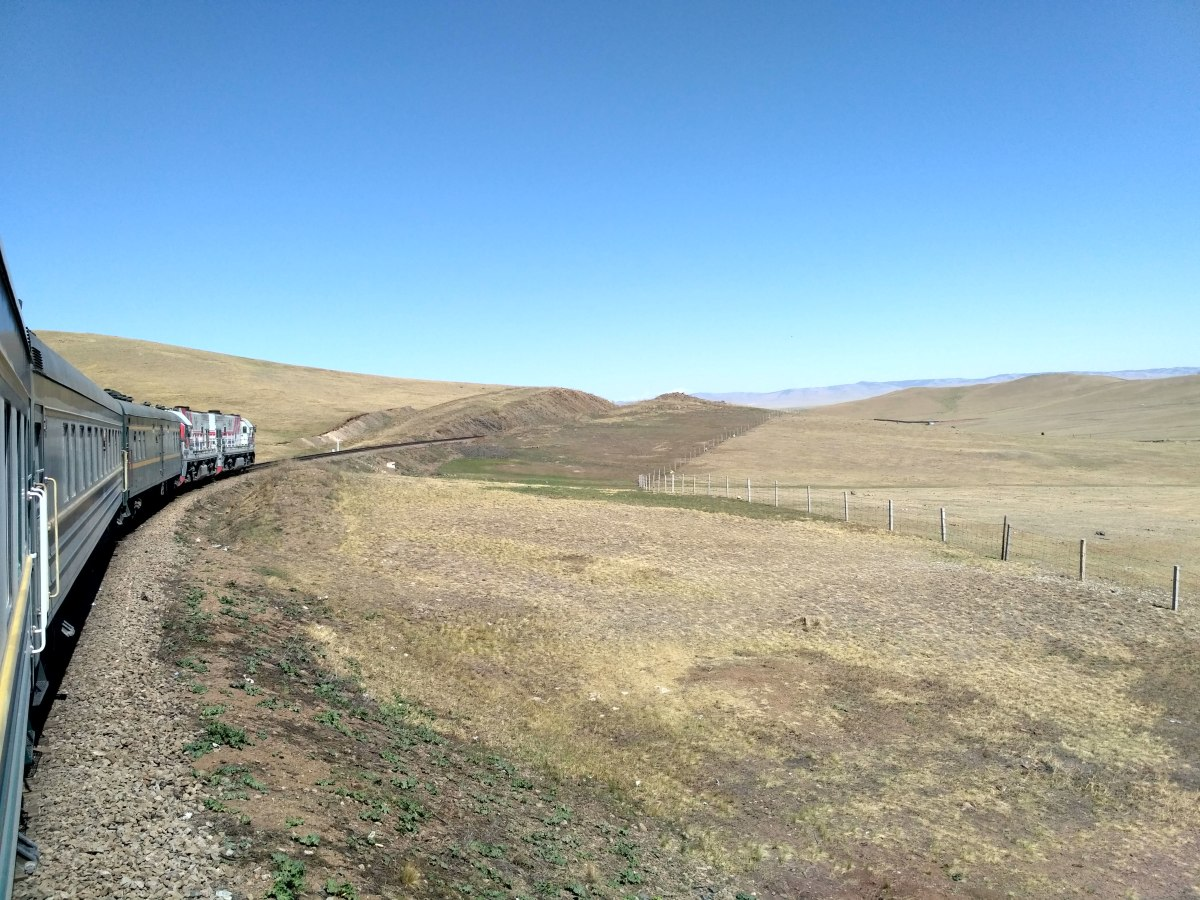 Train cruising through the Gobi Desert