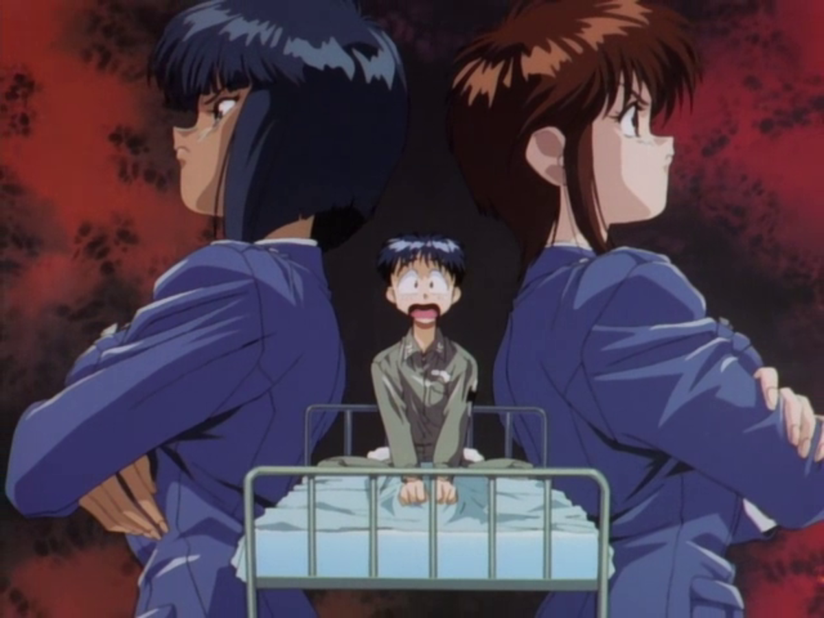 Hapless mechanic Takuya Isurugi finds himself between a rock and a hard place.