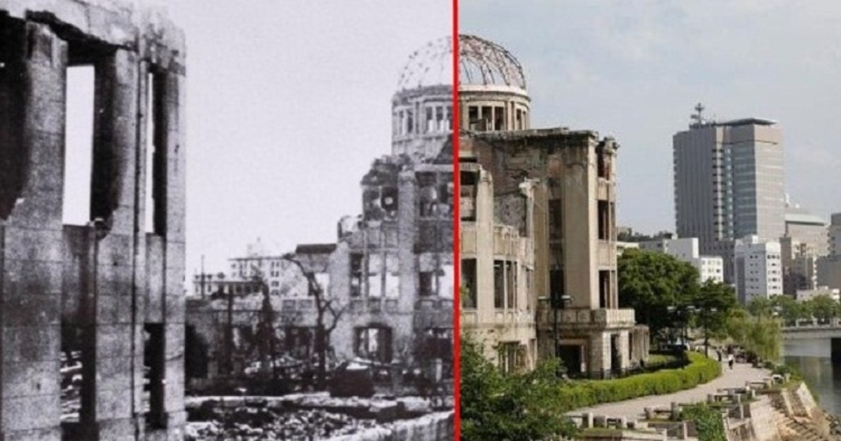 A building in Hiroshima, Japan from after the atomic bomb compared to an image from today.