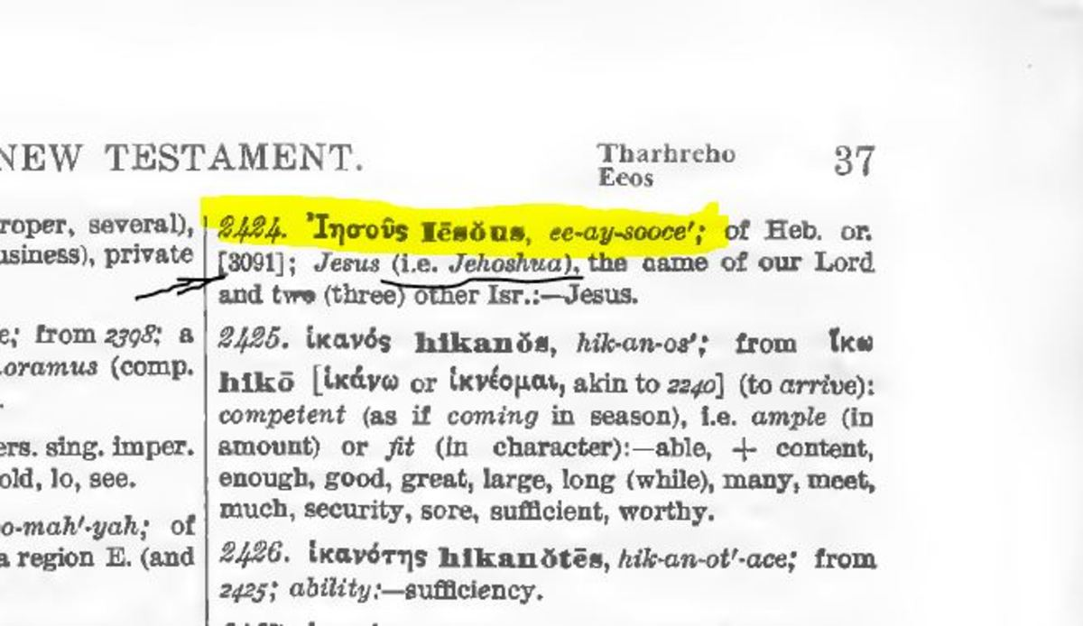 incorrect transliteration of Yehowshuwa  as Iesous-Jesus