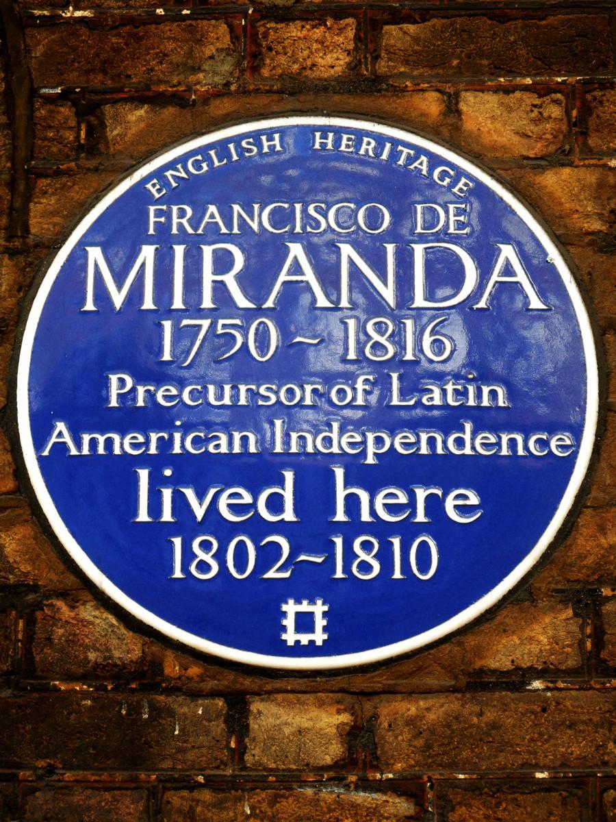The English Heritage blue plaque for Francisco de Miranda at 58 Grafton Way, London W1
