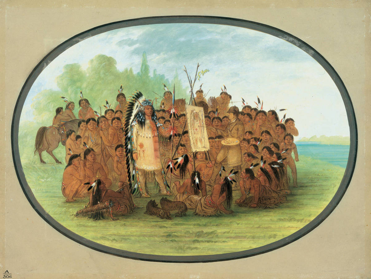 """George Catlin's """"Catlin Painting the Portrait of Mah-to-toh-pa -- Mandan"""""""