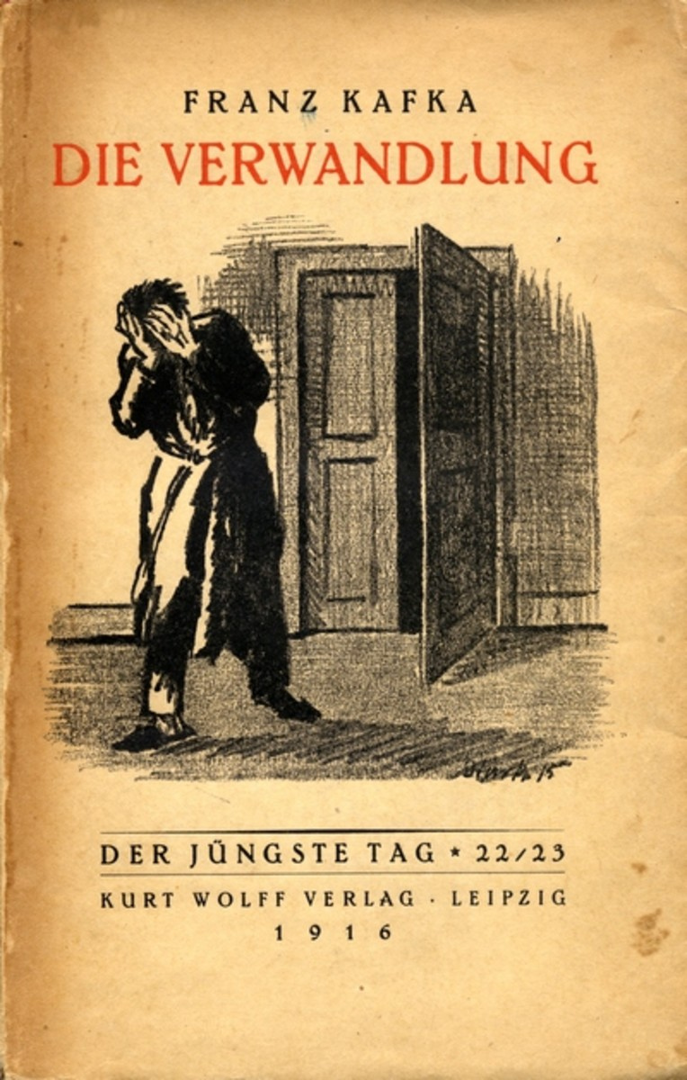 The cover of the original edition of this work, published while Franz Kafka was still alive. It is worth noting that it was Franz Kafka himself who asked that the creature (Gregor) should not be depicted in the cover.