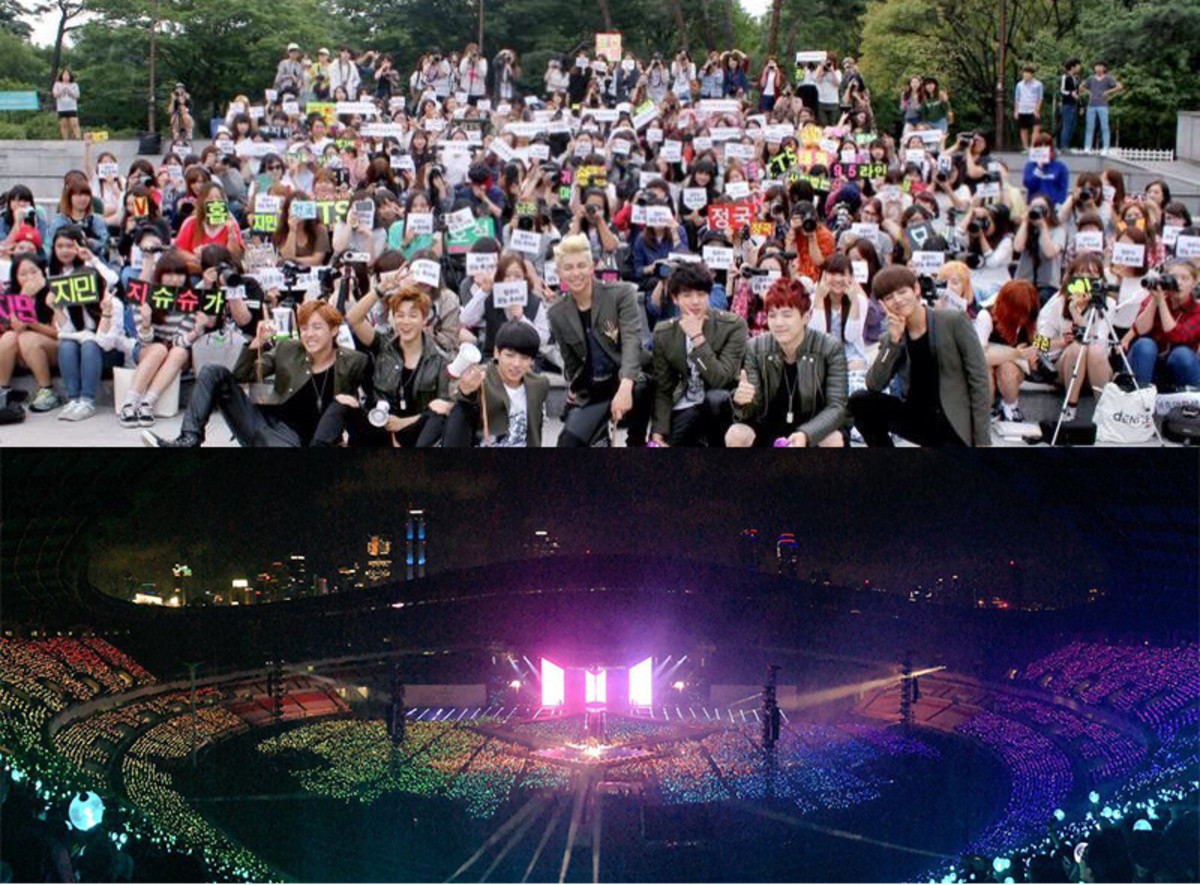 (Above) BTS first fan meeting had no more than 150 attendees. (Below) BTS' Love Yourself: Answer world tour kicks off with a concert at theSeoul Olympic Stadium, selling out more than 90,000 tickets.