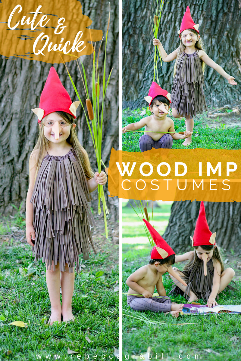 You'll have the cutest imps on the block with this super easy DIY Halloween Wood Imp costume!