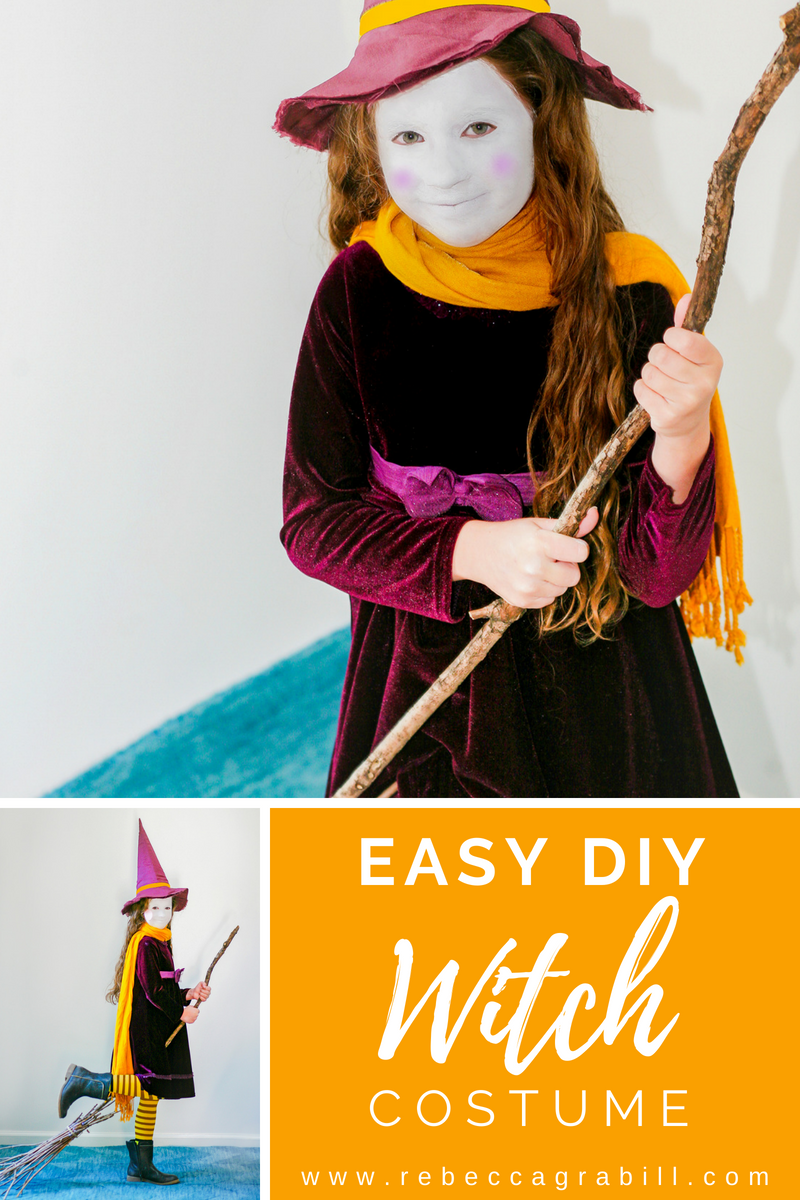 This super sweet witch costume is also super EASY and uses supplies you may already have!