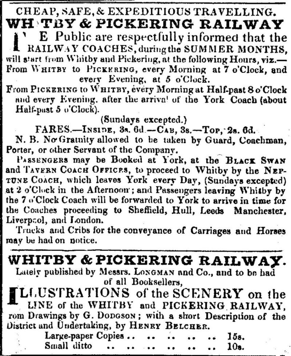 Local newspaper advertisements for travel on the Whitby & Pickering Railway