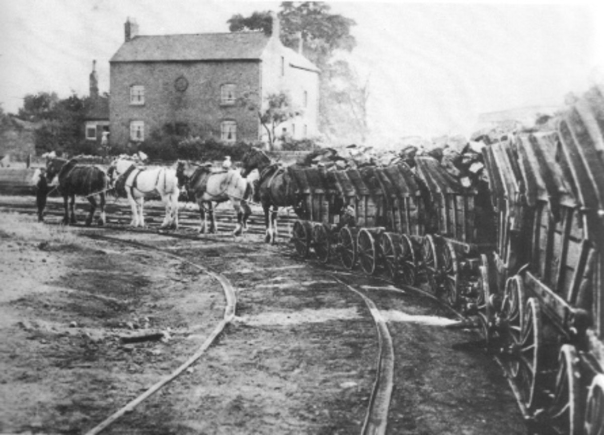 A wagonway like this would be the scene in freight yards, where coal and stone was moved on the line in chaldron wagons
