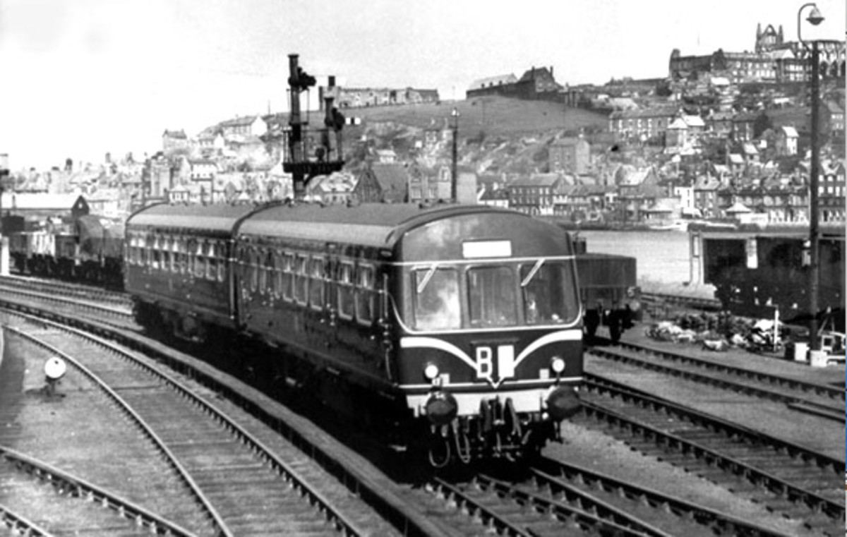 A Metro Cammell diesel multiple unit - d.m.u - leaves Whitby Town station in the late 1950s (the cab front still bore the original 'speed whiskers', replaced by a yellow warning panel in the 1960s)
