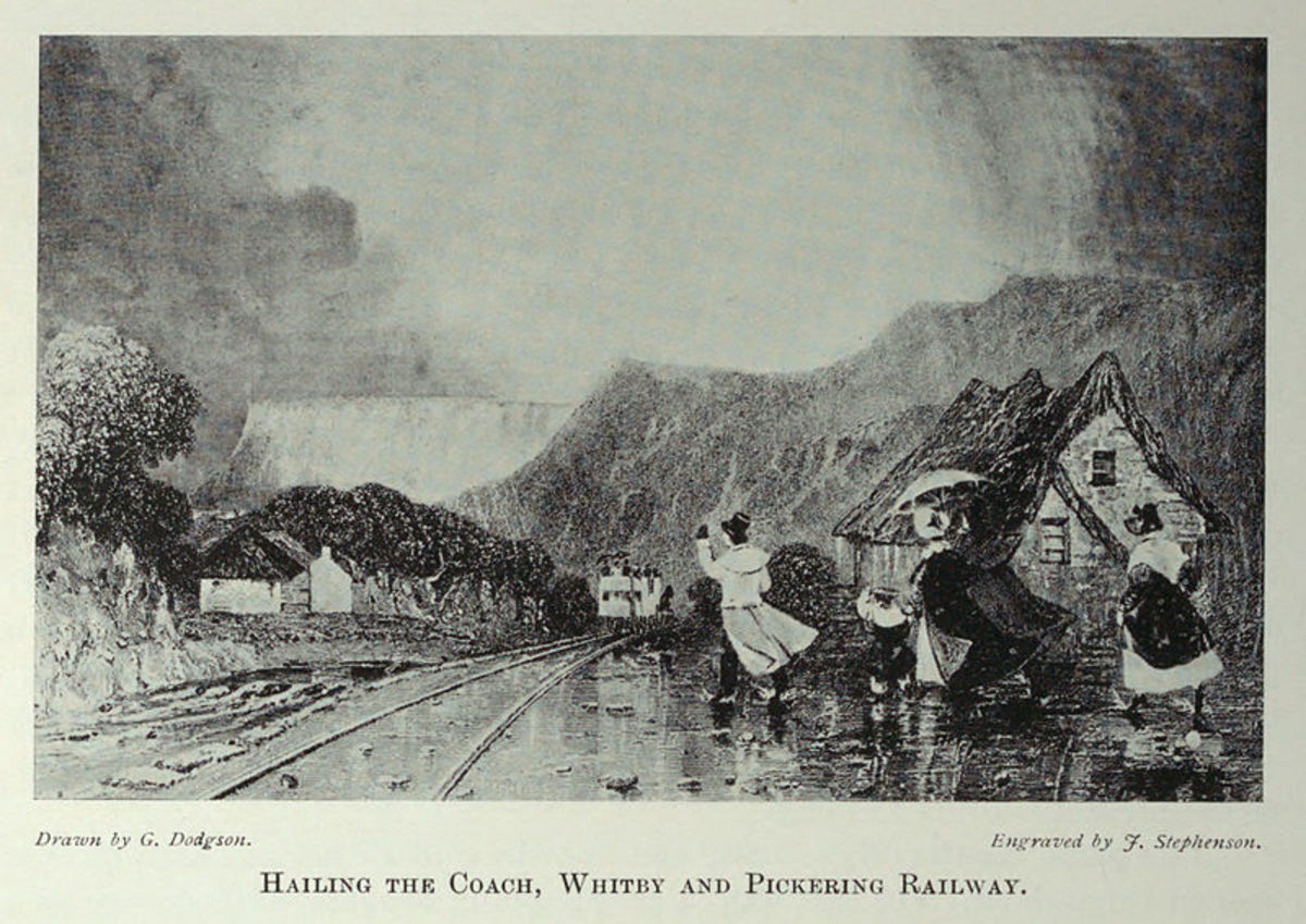 """""""Hailing the coach"""", from Tomlinson North Eastern Railway. Author was a youth when the W&PR began to operate - the scene is probably set at Levisham, with heights on either side of the line"""
