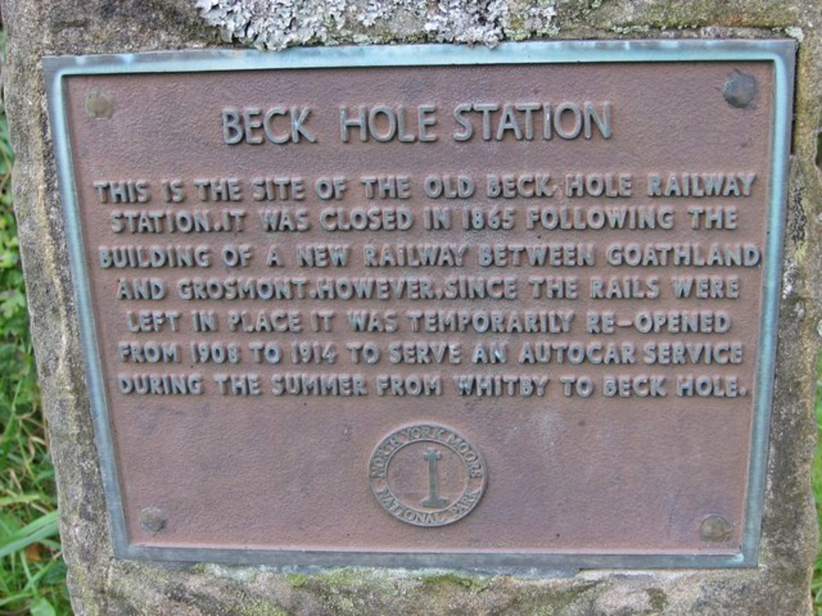 Plaque at Beck Hole marks the site of the original station, removed early in the 20th Century, at the foot pf the Goathland incline