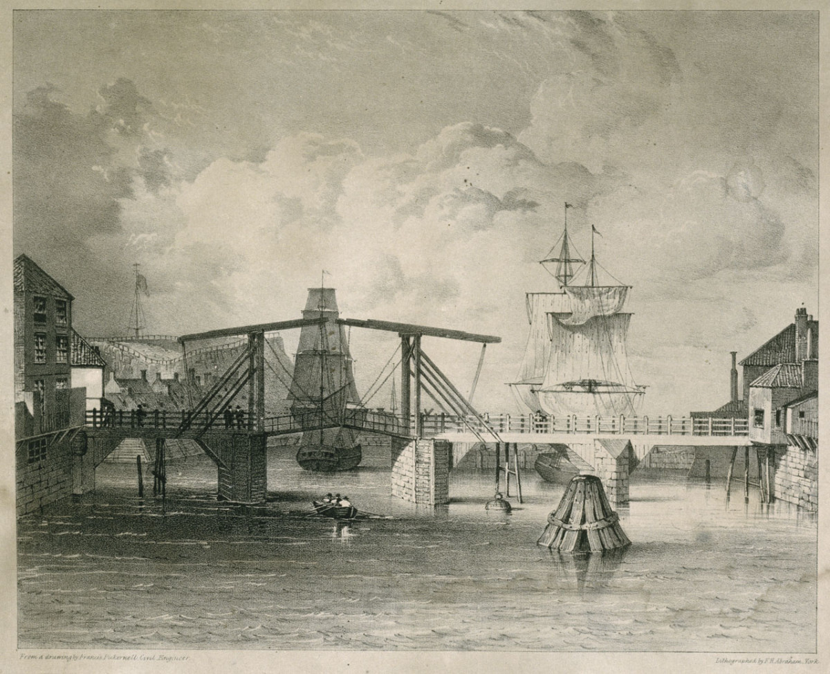 Whitby Harbour, 1833, the scene of new enterprise on land also saw the demolition of the old harbour lift bridge by Messrs Craven who had the contract for a new one